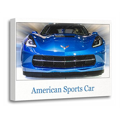TORASS Canvas Wall Art Print Automobile American Sports Car Front View Chevy Corvette Artwork for Home Decor 16