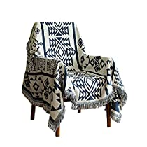 Lemonda Cotton Double Sided Knitted Multi-Function Blanket Throw Bed Couch Sofa Chair Cover with Decorative Tassels,51 x 71 (Big Rhombus)