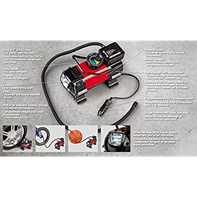 CARTMAN Car Air Compressor, Heavy Duty Inflator with LED Light 12V, Portable Air Pump,Tyre Inflator: Automotive