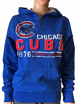 Chicago Cubs SAAG Women Blue Quarter Zip Thermal Hood Pullover Sweatshirt