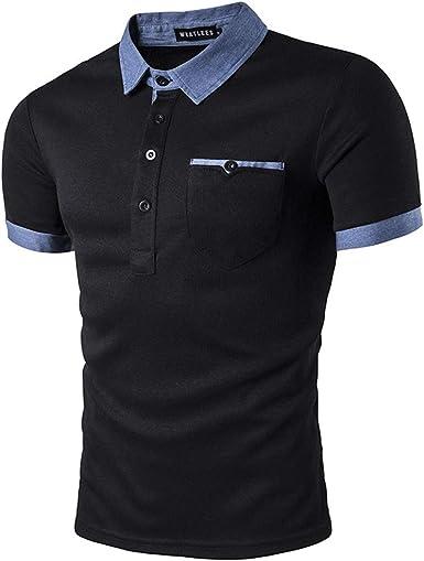 Camisa Polo De Manga Corta para Hombre Manga Corta Costura De Mezclilla Camiseta Polo Casual: Amazon.es: Ropa y accesorios
