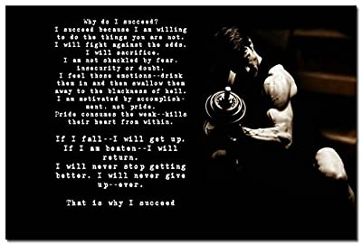 Why Do I Succeed - Bodybuilding Motivational Quotes Art Silk Poster 24x36""
