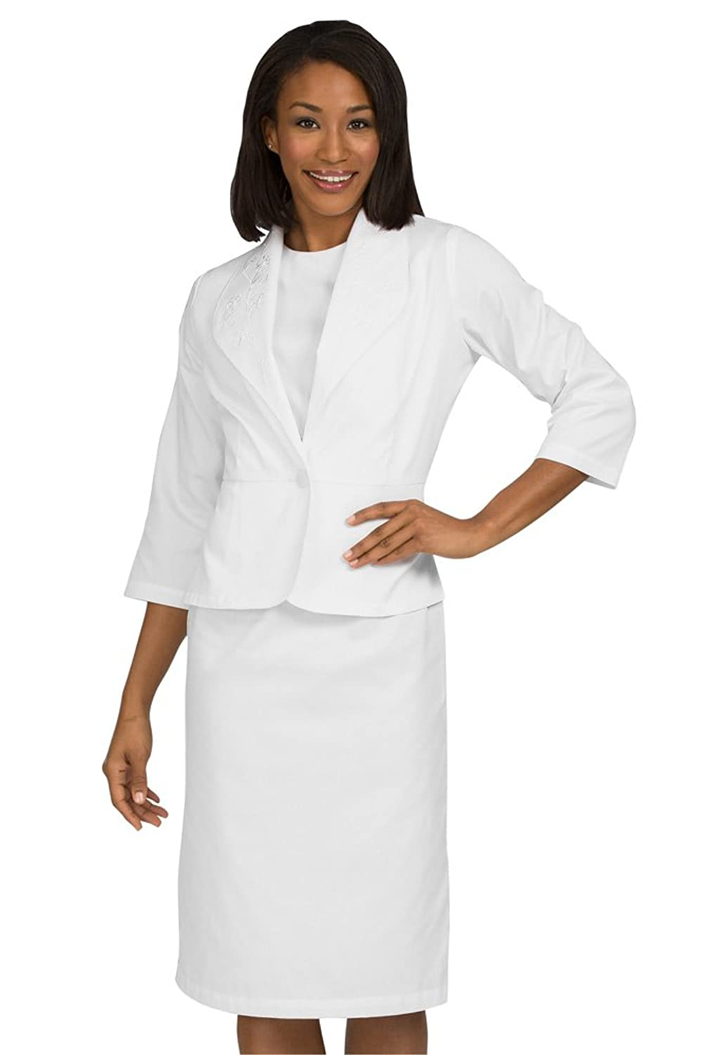 3/4 Sleeve White Penelope Dress with Fitted Jacket by Peaches Uniforms. Perfect for Nurses!