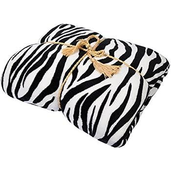 "Napa Super Soft Plush Bed Blanket Zebra Queen Size All Season Velvet Throw Blankets, Lightweight and Easy Care Couch Blanket Fleece Blanket, 90""x72"""