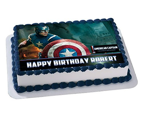 Captain America Marvel Edible Cake Topper Personalized Birthday 1/4 Sheet Decoration Custom Sheet Party Birthday on Wafer Rice Paper