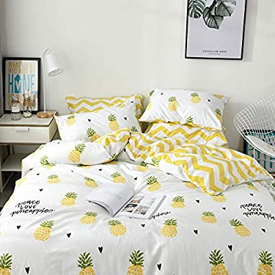 VClife Yellow Pineapple Printed Duvet Cover Yellow White Geometric Bedding Sets Kids Woman Fruit Plant Design Bedding Collections, Soft Hypoallergenic, Durable, Lightweight,Queen: Home & Kitchen