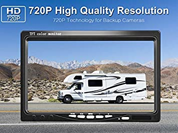 LeeKooLuu HD 720P Backup Camera Kit for Cars Pickups Trailers Trucks Vans Rear Front View Single Power Rear Observation System with 7 Monitor Reversing Driving Use IP69K Waterproof Guide Lines ON OFF