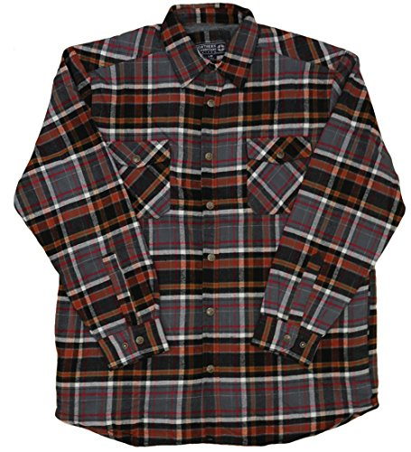 Northern Expedition Men's Ponderosa Flannel Plaid Button Down Shirt (2XL, Orange) (Oz 5 Flannel Shirt)