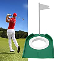 Golf Practice Putting Cup Mat with Hole and Flag Plastic for Indoor Outdoor Office Garage Yard