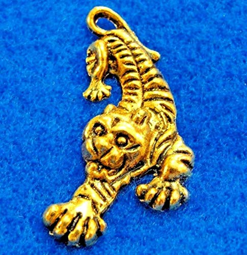 10Pcs. Tibetan Antique Gold Tiger Panther Charms Pendants Earring Drops AN002 Crafting Key Chain Bracelet Necklace Jewelry Accessories Pendants ()