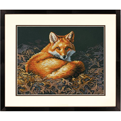 Dimensions Sunlit Fox Counted Cross Stitch Kit, 14 Count Black Aida, 14'' x 11'' ()
