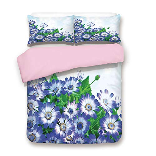 Pink Duvet Cover Set,Queen Size,Fresh Wildflowers in Grass Vivid Spring Daisy Bloom Over Sky Floral Design Print,Decorative 3 Piece Bedding Set with 2 Pillow Sham,Best Gift for Girls Women,Blue Green
