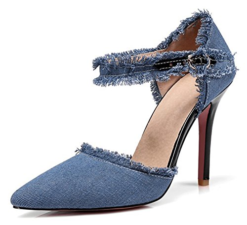 Ankle Cuff Pumps - Aisun Women's Unique Stiletto High Heels Dressy Buckled Pointed Toe D'Orsay Denim Pumps Shoes with Ankle Strap (Light Blue, 11.5 B(M) US)