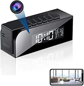 Spy Camera Clock 1080P , WiFi Hidden Camera Clock Wireless HD Home Security Nanny Cam with 33 FT IR Night Vision & Motion Detection for Home Office-Live Streaming