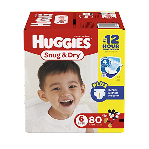 HUGGIES Snug & Dry Diapers, Size 6, 80 Count (Packaging May Vary)