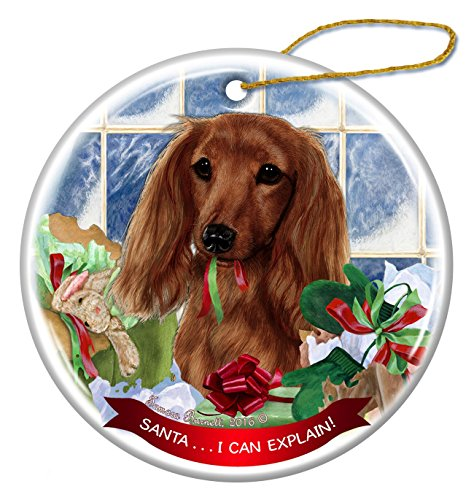 Long Haired Red Dachshund Dog Porcelain Hanging Ornament Pet Gift 'Santa.. I Can Explain!' for Christmas Tree and Year - Santa Haired Long
