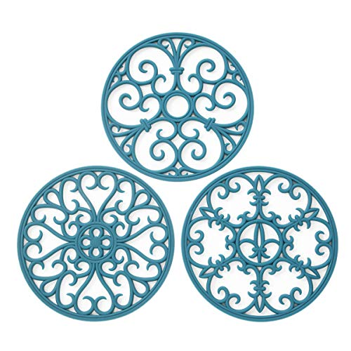 Silicone Trivet Mat - Non-Slip & Heat Resistant Kitchen Hot Pads for Countertops & Table - Kitchen Trivets for Hot Dishes & Cookware - Hot Pot Holder for Pots & Pans - Teal,Set of 3 (Kitchen Mat Teal)