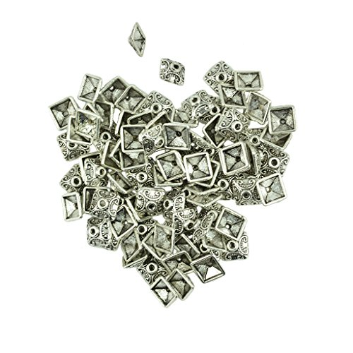 Jili Online 100 Pieces 10mm Tibetan Silver Alloy Square Spacers Beads Caps Charms Jewelry DIY Findings