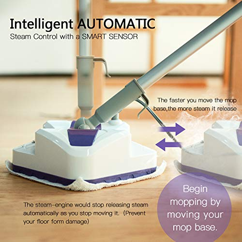LIGHT 'N' EASY Steam Mop, Powerful Floor Steamer Cleaner Mopper with Automatic Steam Control for Hardfloor, Laminate, Tile, Grout and Carpet, S7338 (White Violet)