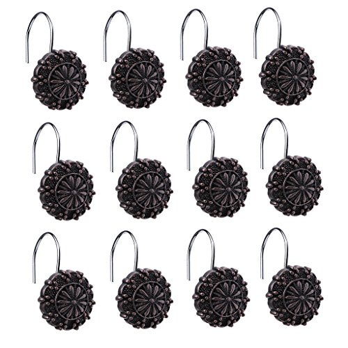 Jili Online Ancient Rome Engraving Floral Bathroom Shower Curtain Ring Hook Set of 12Pcs ()