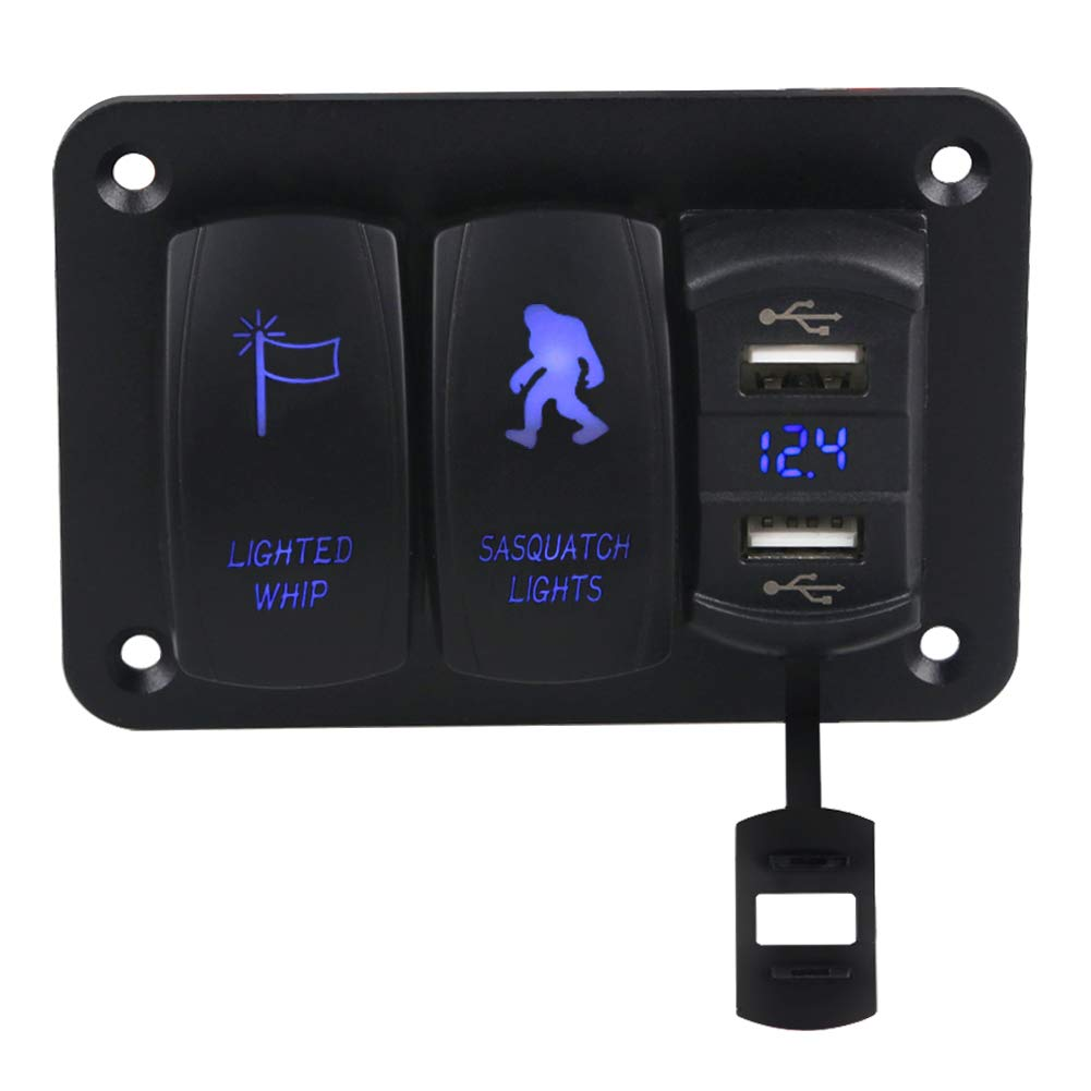 WATERWICH Marine Boat Car RV 3 Gang ON-Off Ignition Toggle Rocker Switch Panel with 4.2A Dual USB Charger Socket Lighted Whip Switch Sasquatch Lights Switch forTrailer Vehicle Truck Yacht(3 Gang Blue) by WATERWICH