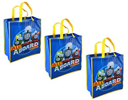 Tank Engine Gift - Thomas the Tank Engine Large 15.5-inch Reusable Shopping Tote or Gift Bag, 3-Pack