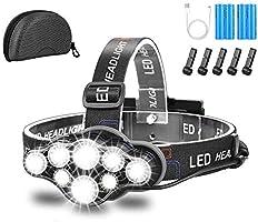 Lampe Frontale,Super Brillante Lampe à 8 Del de 18000 Lumens,Rechargeable USB Imperméable réglable pour Le Camping, la...