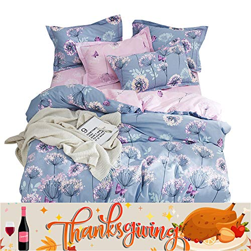 OTOB Flower Teen Girls Twin Bedding Duvet Cover Sets Cotton for Kids Toddler Women Cartoon Butterfly Dandelion Print Floral Reversible Bedding Sets Twin Fairy Princess Pink Purple from OTOB