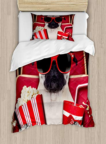 Ambesonne Pug Duvet Cover Set Twin Size, Funny Dog Watching Movie Popcorn Soft Drink and Glasses Animal Photograph, Decorative 2 Piece Bedding Set with 1 Pillow Sham, Cream Ruby and -
