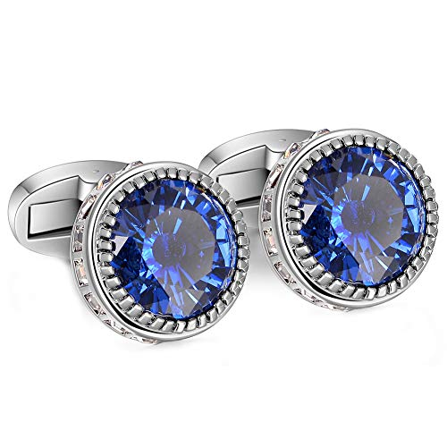PANDALUO Mens Cufflinks, Elegant Super Shiny Crystal Navy Blue Gemstone Cuff Links Set for Men