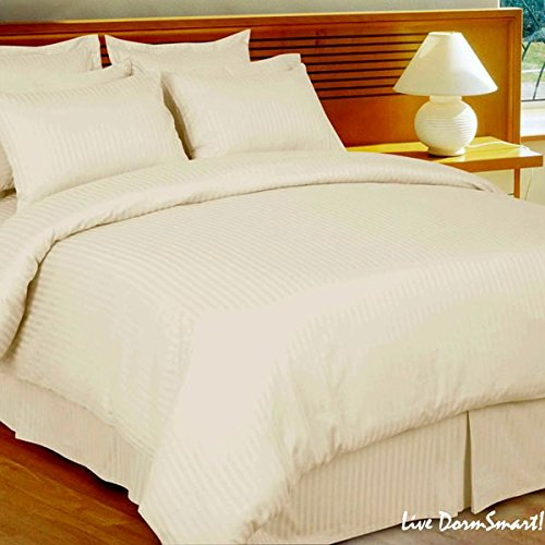 1000 Thread Count Egyptian Cotton (NOT MICROFIBER POLYESTER) KING Size, IVORY Stripe, Duvet Cover Set . Set Includes 1 DUVET COVER and 2 PILLOW SHAMS / Pillow Cases (Cover Polyester Stripe)