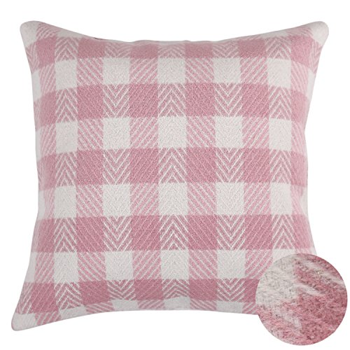 Deconovo Royal Stewart Tartan Plaid Pillow Cover Hand Made Throw Cushion Cover With Invisible Zipper For Sofa 18x18 Inch Pink and White (Pink Check White Gingham)