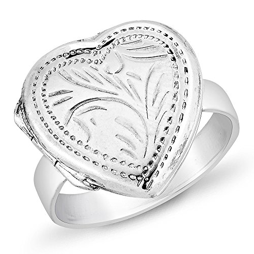 925 Sterling Silver Flora Engraved Heart Love Locket Ring for Women Size 7 - Nickel Free ()