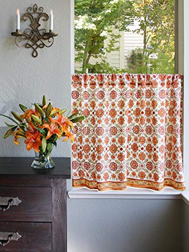 Saffron Marigold Orange Blossom Hand Printed Cotton Tier Curtains | Floral, Summer, Persian, Medallion, Sunflower Cafe Kitchen Curtains Window Treatment for Bathroom, Kitchen, Home Decor 46 x 36 ()