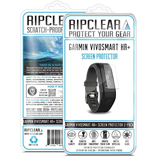 (RIPCLEAR Garmin Vivosmart HR+ Smartwatch Screen Protector Kit - Scratch-Resistant, All-Weather Protection, Crystal Clear - 2-Pack)