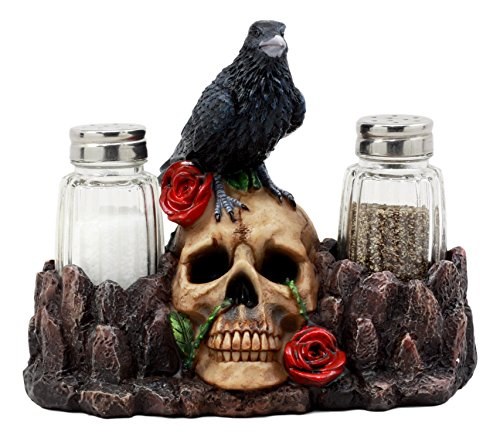Ebros Day Of The Dead Raven Crow With Rose Skull Salt & Pepper Shakers Holder Figurine Set 6.5
