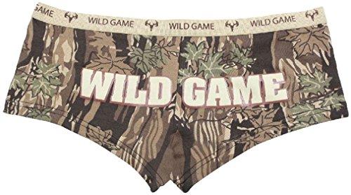 - Womens Wild Game Smokey Branch Camouflage Slim Fit Booty Shorts Underwear