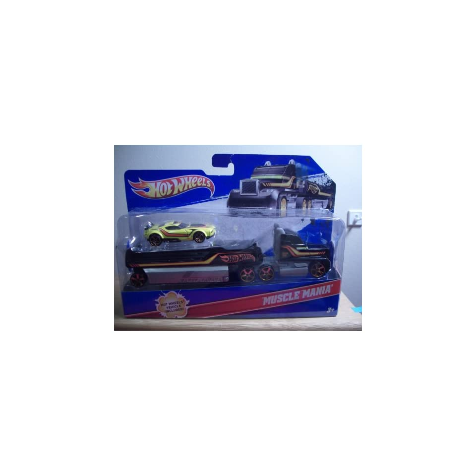 2011 Hot Wheels Semi Truck w/Trailer and HW Muscle Mania Car (Toy)