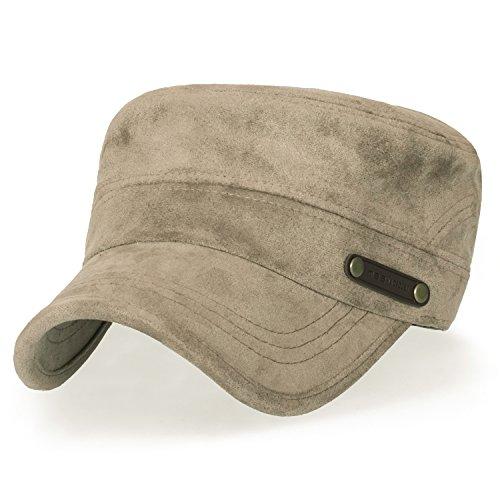 ililily Women Solid Color Military Army Hat Velour Flex Fit Cadet Cap, Marron Brown -