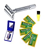 (US) The Original Old Fashion Vincent Double Edge Razor Kit with Cleaning Brush,Travel Case with Mirror + 5 BONUS Stainless Razor Blade Ultimate Shaving Experience
