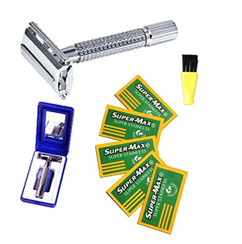 The Original Old Fashion Vincent Double Edge Razor Kit with Cleaning Brush, Travel Case with Mirror + 5 BONUS Stainless Razor Blade Ultimate Shaving Experience