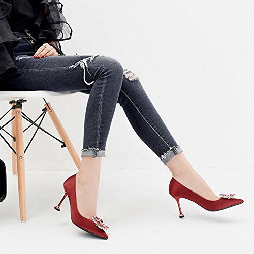 Mesdames été Mariée Fermée Orteil Strass Court Chaussures Femmes Mode Pompes à Talons Mariage Travail à Talons Hauts Red dvbfzg4fb