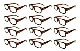 Mr. Reading Glasses [+1.00] Tortoise Plastic Frame Assorted Style Unisex 12 Pack of Reading Glasses - Wholesale Lot of 12 Pairs - Tortoise +1.00 Power