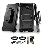 Galaxy On7 2016 Case,Galaxy J7 Prime Case Dual Layer Hybrid Side Kickstand Cover Case With Holster Clip for Samsung Galaxy On7 2016/J7 Prime/G610 with Accessories Black