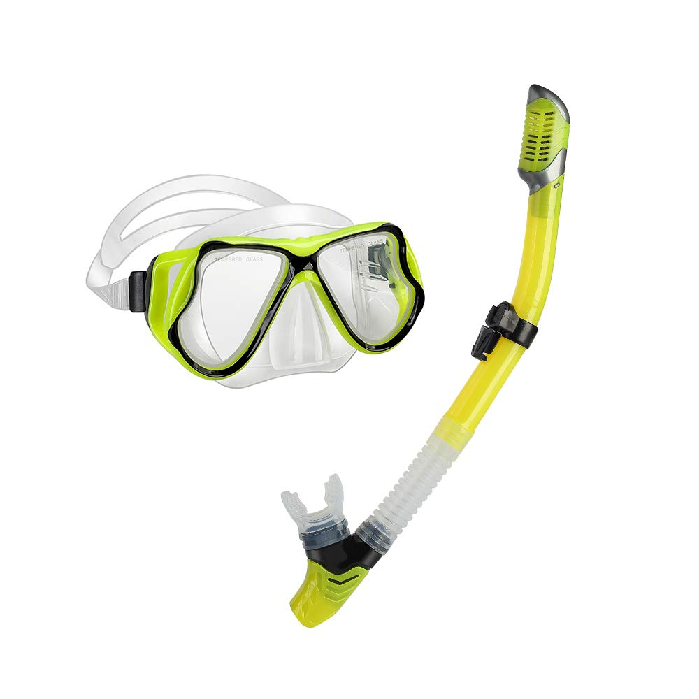 yiikii Snorkel Set for Adults Anti-Fog Anti-Leak Panoramic View Free Breathing Dry Top Snorkel Set with Travel Bag (Yellow)