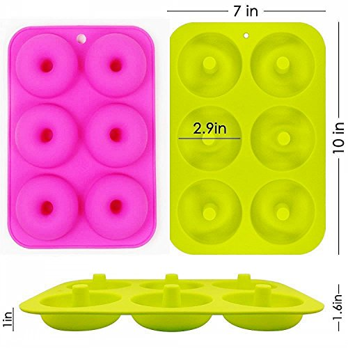 OKSANO 3 Pack Donut Molds, Silicon Cake Mold 6 Cavity Non-Stick Safe Baking Tray Maker Pan Heat Resistance for Cake Biscuit Bagels Muffins-Orange, Rose Red, Green by OKSANO (Image #2)'