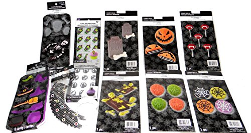12 Piece MEGA Halloween Party Candy Making, Baking Kit, 6 plastic Candy molds, 2 Silicone Treat Molds, 2 Cupcake Candy Topper sets, Cupcake Wrappers and a Skull shape Cookie Cutter ()