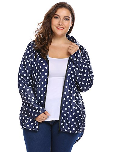 Blenko Women's Plus Size Lightweight Hooded Waterproof Active Outdoor Rain Jacket