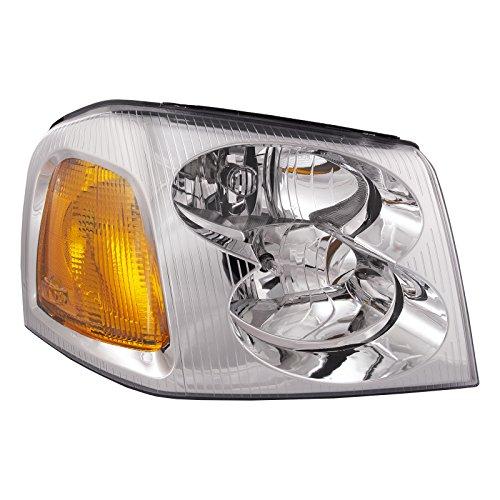 HEADLIGHTSDEPOT Chrome Housing Halogen Headlight Compatible with GMC Envoy 2002-2009 Includes Right Passenger Side Headlamp