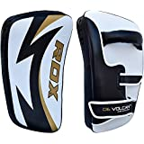 RDX MMA Cowhide Leather Strike Shield Curved Thai Pad Kick Target Boxing Punching Mitts Training (THIS IS SOLD AS SINGLE ITEM)